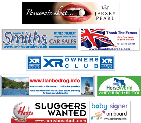 rear window stickers, showing  8 examples of full colour and spot colour white backed vinyl car window stickers