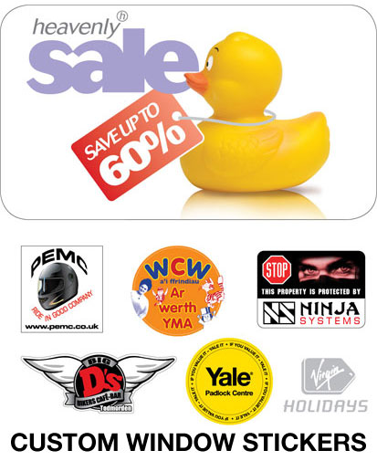 window sticker examples, used in shop windows, rear car windows and point of sale